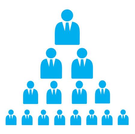 파란색으로 사업가 플랫 아이콘으로 만든 피라미드 계획 흰색으로 격리