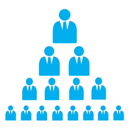 Pyramid Scheme made of businessman Flat Icons in blue color isolated on white Illustration