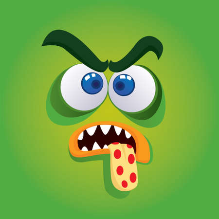 Vector illustration of angry monster avatar in green color Vector
