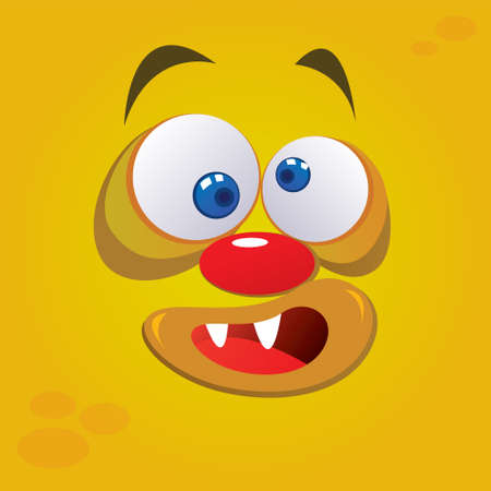 Vector illustration of silly monster avatar in yellow color