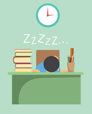 perezoso: Ilustración vectorial de un joven estudiante agotado de aprendizaje y duerme en su escritorio