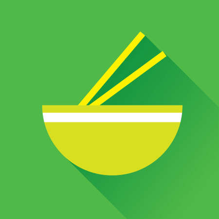thai noodle: Vector illustration of bowl and chopstick flat icon in green square background with diagonal shadow