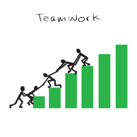 Teamwork Concept. Vector illustration of group of stick people trying to get higher position together Ilustração