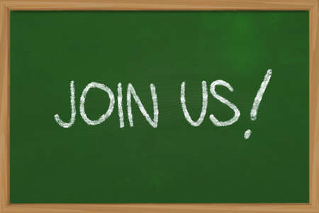 advertise with us: Business concept the words Join Us written with chalk on green chalkboard