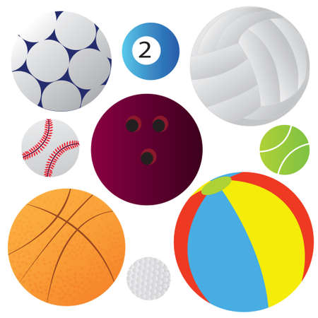 Vector illustration of many balls collection isolated on white Vector
