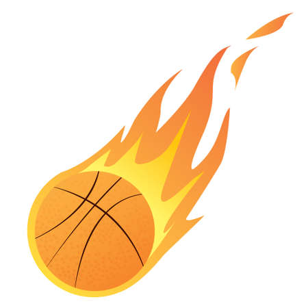 basketball ball on fire: Vector illustration of a Basketball in Fire isolated on white