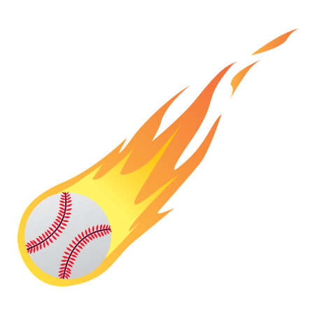Vector illustration of a Baseball in Fire isolated on white Illustration