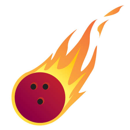 fire ball: Vector illustration of a Bowling Ball in Fire isolated on white