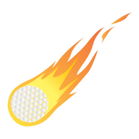 ball game: Vector illustration of a Golf Ball in Fire isolated on white