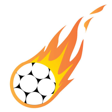 fire ball: Vector illustration of a Soccer Ball in Fire isolated on white
