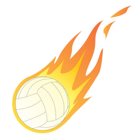 volley ball: Vector illustration of a Volley Ball in Fire isolated on white Illustration
