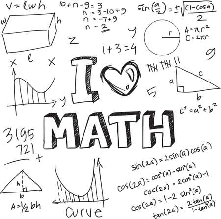 calculus: Vector illustration of math formulas drawn with doodle style isolated on white