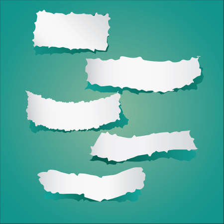 greenish: Vector illustration of Pieces of torn papers collection on greenish background