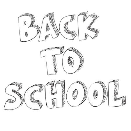 white back: Vector illustration of the words Back to School drawn with doodle style isolated on white