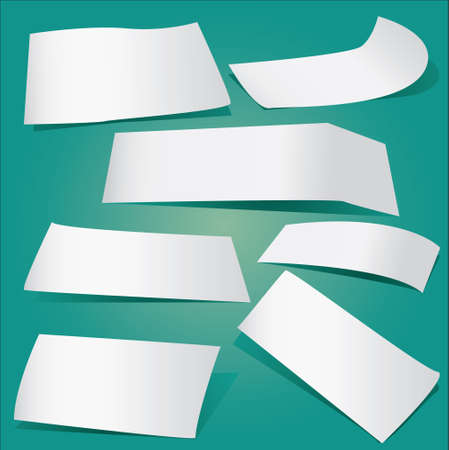 greenish: Vector illustration of Pieces of papers collection on greenish background