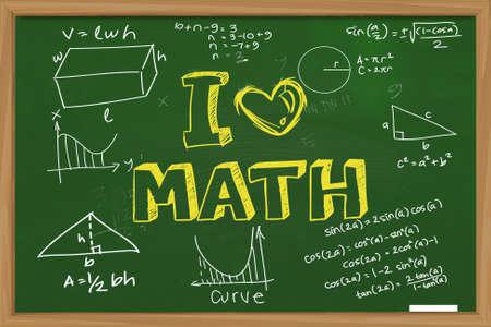 교육 개념 녹색 칠판에 분필로 쓴 수학 공식 낙서와 나는 수학을 사랑 낱말