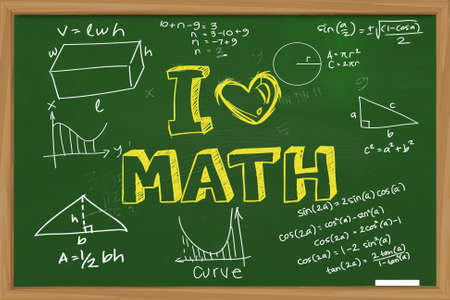Educational concept the words I Love Math with mathematics formula doodle written with chalk on green chalkboard Banco de Imagens