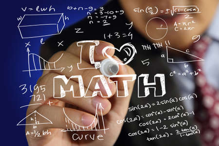 Educational concept image of a man holding marker and write I Love Math with mathematics formulas doodle over blue background photo