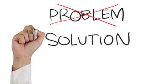 image concept d'affaires d'un marqueur de maintien de la main et écrire Problème et solution isolée sur blanc