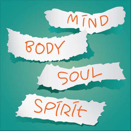 mind body soul: Motivational concept. Illustrazione vettoriale di carte strappate con le parole Mente, corpo, anima e spirito scritto su di esso