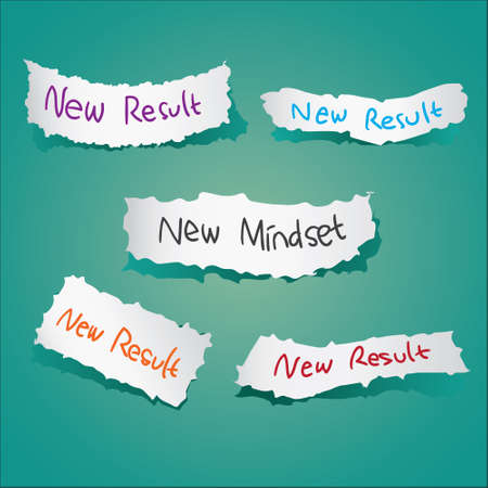 mindset: Motivational concept. Vector illustration of torn papers with the words New Mindset New Results written on it