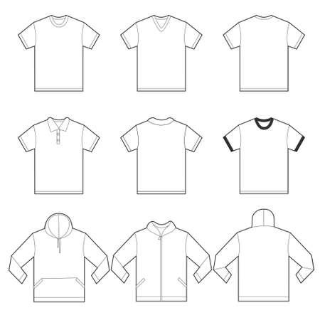 uniformes: Ilustraci�n vectorial de blanco camisetas plantilla en muchas variaciones, el frente y la parte posterior dise�an aislado en blanco