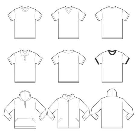 unisex: Vector illustration of white shirts template in many variation, front and back design isolated on white