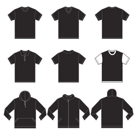 Vector illustration of black shirts template in many variation, front and back design isolated on white