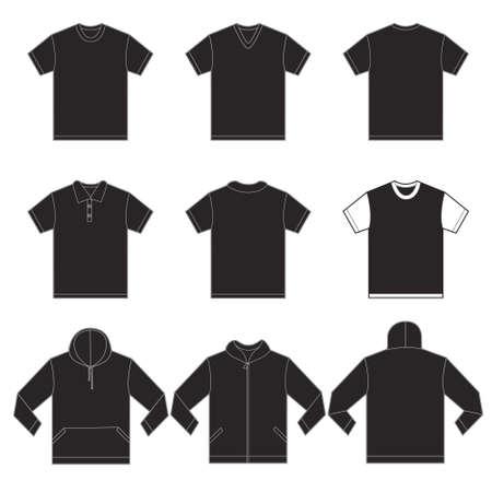 Vector illustratie van zwarte shirts sjabloon in vele variaties, voor- en achterkant ontwerp geïsoleerd op wit