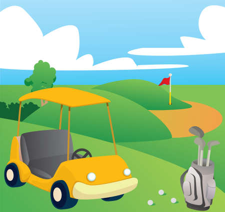 golf bag: Vector illustration of Golf Course on happy day