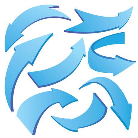 flechas curvas: Ilustración vectorial de azul curvas flechas 3D en diferentes variaciones aisladas en blanco
