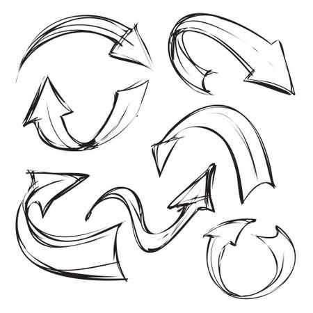 flechas curvas: Ilustración vectorial de flechas curvas en sencillo estilo de dibujo boceto