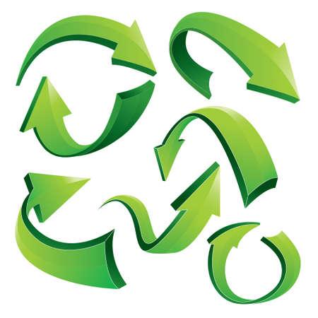 flechas curvas: Ilustración vectorial de verde curvas flechas 3D en diferentes variaciones aisladas en blanco