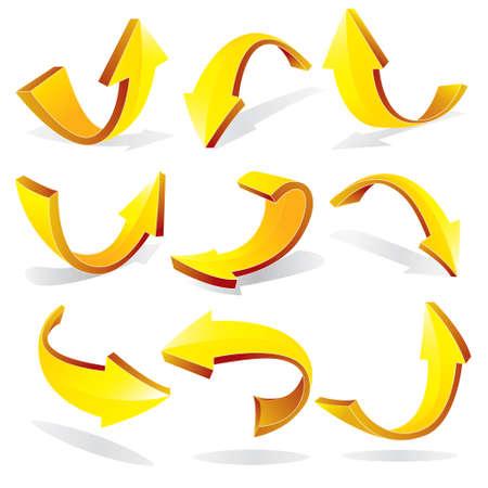 flechas curvas: Ilustración vectorial de color amarillo en 3D flechas curvas en diferentes variaciones aisladas en blanco