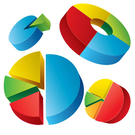 circle chart: Vector illustration of circle pie chart Infographic collection isolated on white