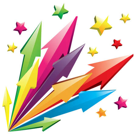 3d star: Vector illustration of colorful 3D arrows shoot out with stars isolated on white
