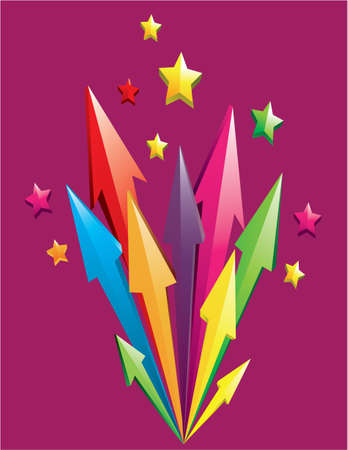 Vector illustration of colorful 3D arrows shoot out with stars over purple background Vector