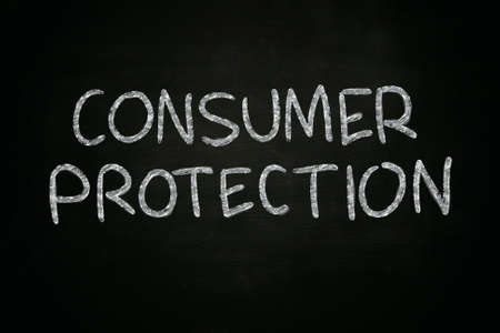 consumer protection: Business concept image of a blackboard with chalk drawing on it says Consumer Protection