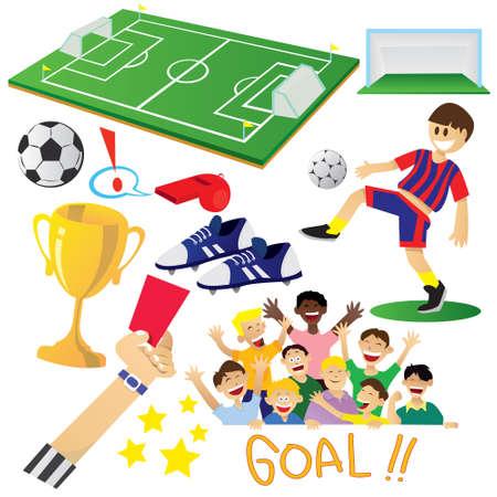 Ilustración del vector del balompié o elementos de dibujos animados de fútbol aislado en blanco