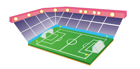 indoors: Vector illustration of Football or Soccer Field and Stadium isolated on white