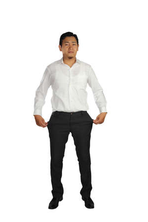 empty pocket: Broke Asian businessman crying and showing his empty pocket Stock Photo