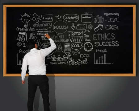 men ideas: Businessman writing business scheme with chalk on blackboard in front of him Stock Photo