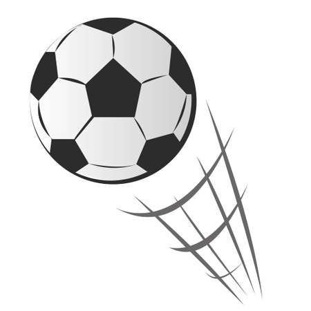 ballon foot: Vector illustration d'acc�l�rer ballon de football de mouvement dans le style de dessin anim� isol� sur blanc