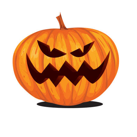 diente caricatura: Ilustraci�n del vector de la linterna de Jack o calabaza de Halloween en estilo de dibujos animados aislado en blanco Vectores
