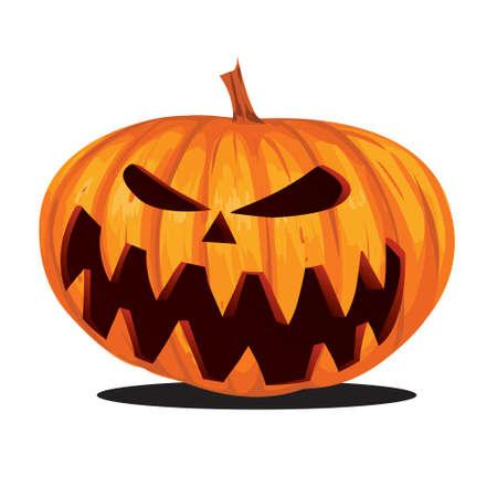 calabaza caricatura: Vector illustration of Jack o Lantern Halloween Pumpkin in cartoon style isolated on white Vectores