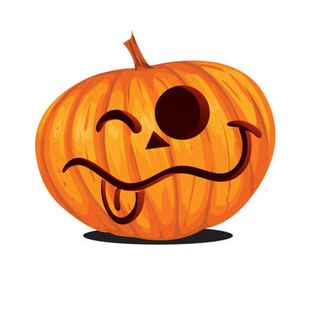 Vector illustration of Jack o Lantern Halloween Pumpkin in cartoon style isolated on white Çizim