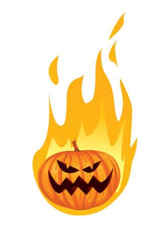 drunk cartoon: Vector illustration of Burned Jack o Lantern Halloween Pumpkin in cartoon style isolated on white Illustration