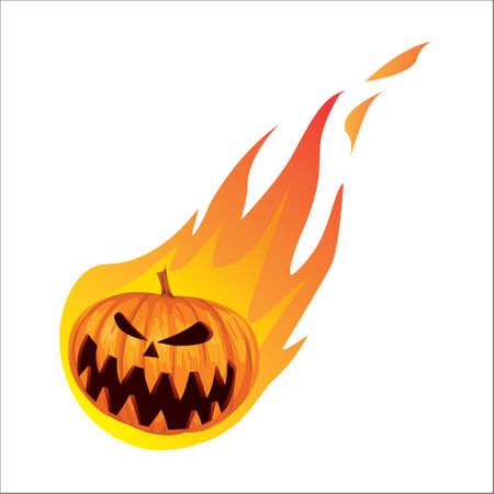burning: Vector illustration of Burned Jack o Lantern Halloween Pumpkin in cartoon style isolated on white Illustration