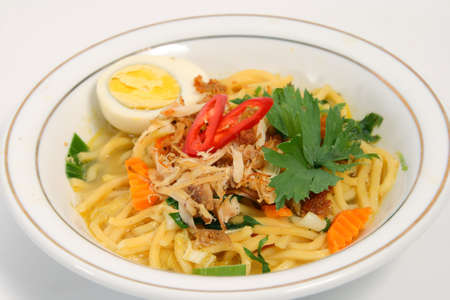 mie noodles: Asian food Noodle with shrimp stock, chopped chicken and boiled egg