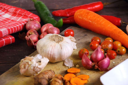 food photography: Food photography closeup photo of raw ingredients on chopping board
